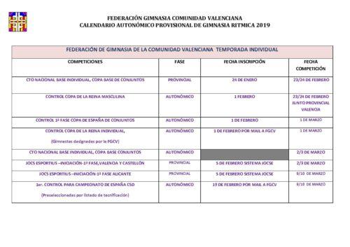 Calendario Valencia 2019.Calendario Autonomico Ritmica 2019 Club De Gimnasia Ritmica Atzar